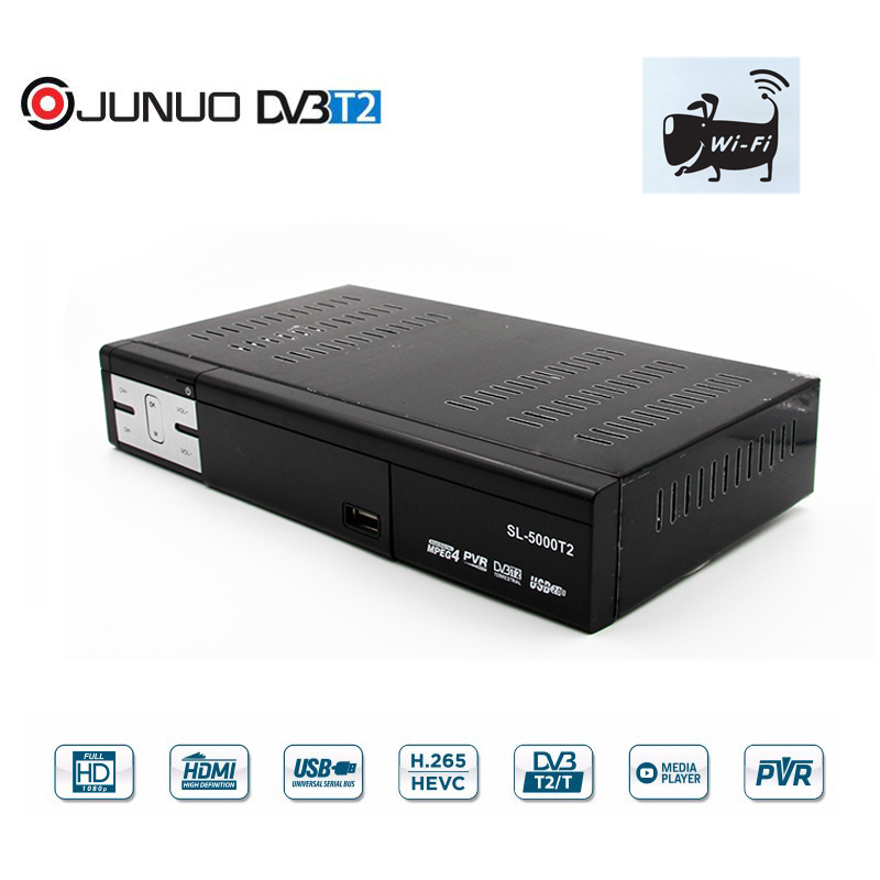 JUNUO digital DVB-T2 <strong>tv</strong> receiver support youtube by wifi <strong>dongle</strong> h 265 set top <strong>box</strong>
