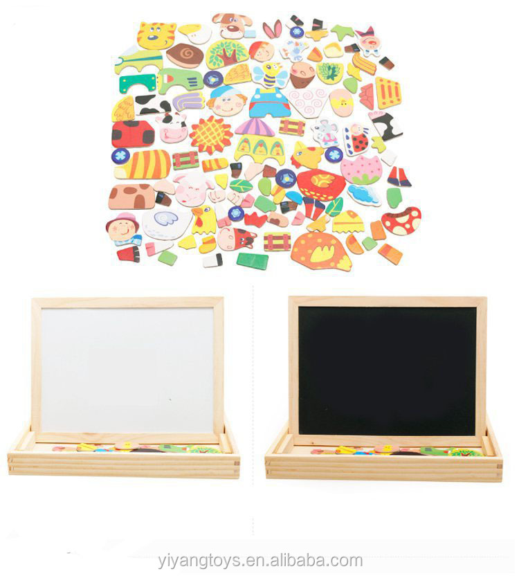 Education jigsaw puzzle wood board & double sides magnetic wooden chalkboard building blocks kids wooden toy