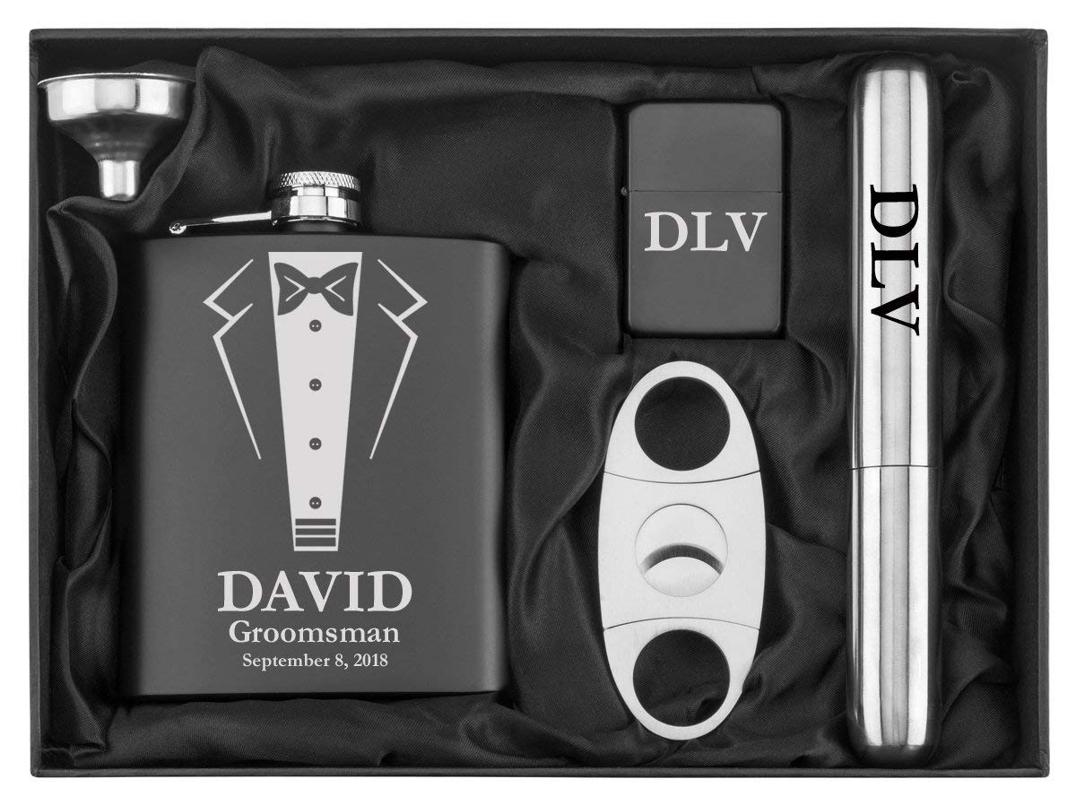Engraved 7oz Stainless Steel Flask Funnel Cigar Cutter Lighter Wedding Tuxedo Gift Set Custom Personalized