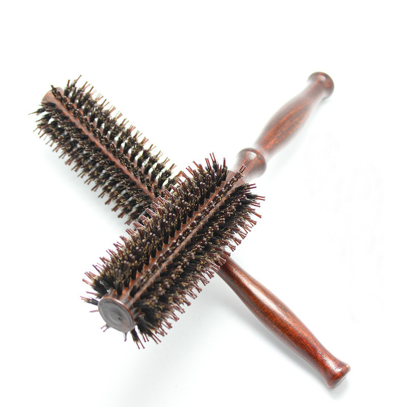 wholesale round natural pure boar bristle wooden hair comb brush