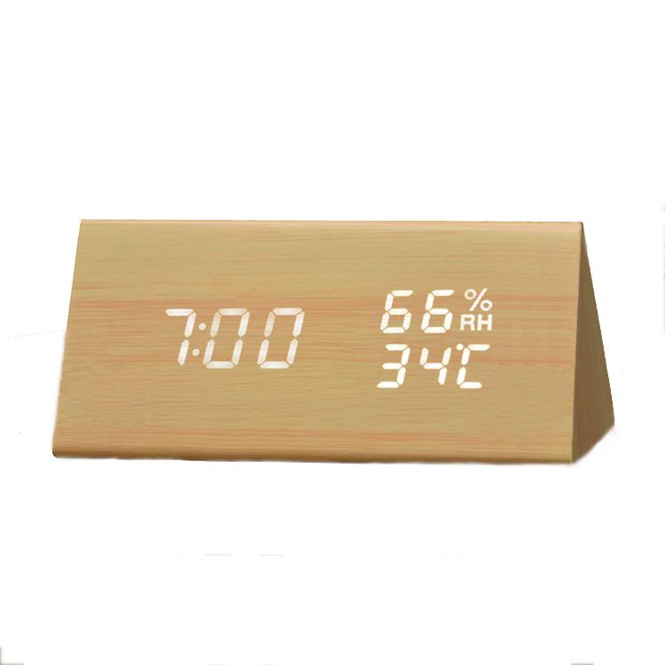 Promotional Digital Triangle LED Wooden Alarm Clock фото