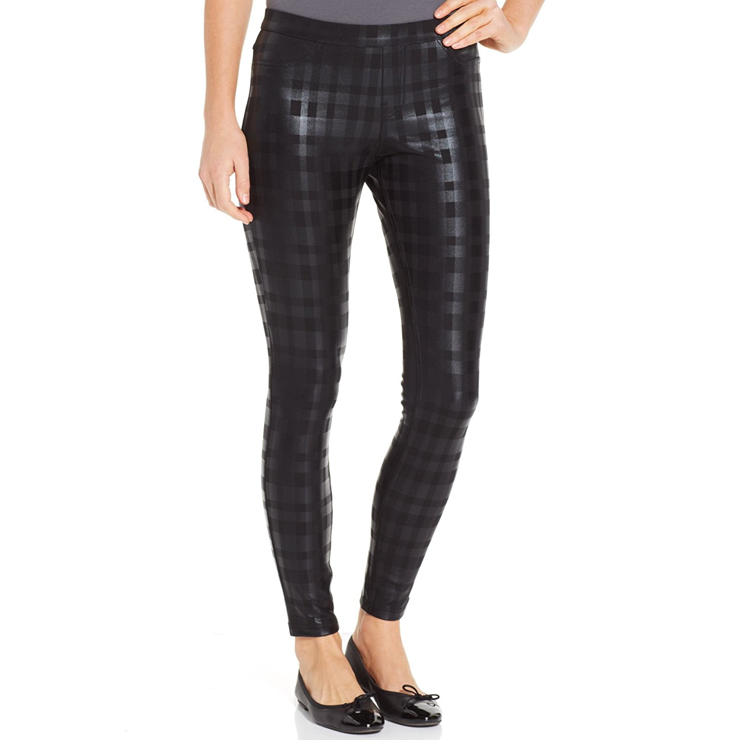 4e7b5fd5a3d Get Quotations · Hue Women s Black Plaid Print Ponte Leggings