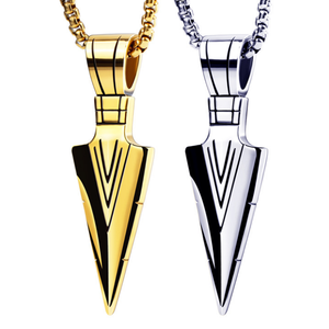 high quality personality spearhead stainless steel triangle darts arrowhead pendant necklace gold jewelry for men