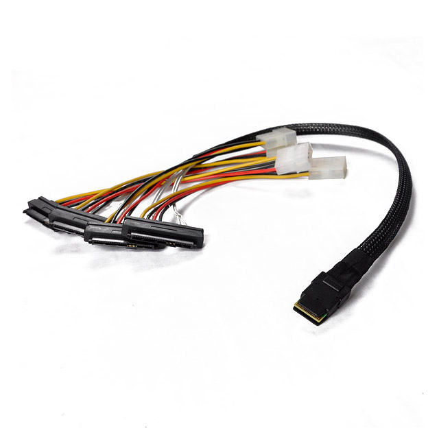 Mini SAS 36P SFF-8087 to 4 SFF-8482 Connectors With SATA Power Cable 0.5M KK