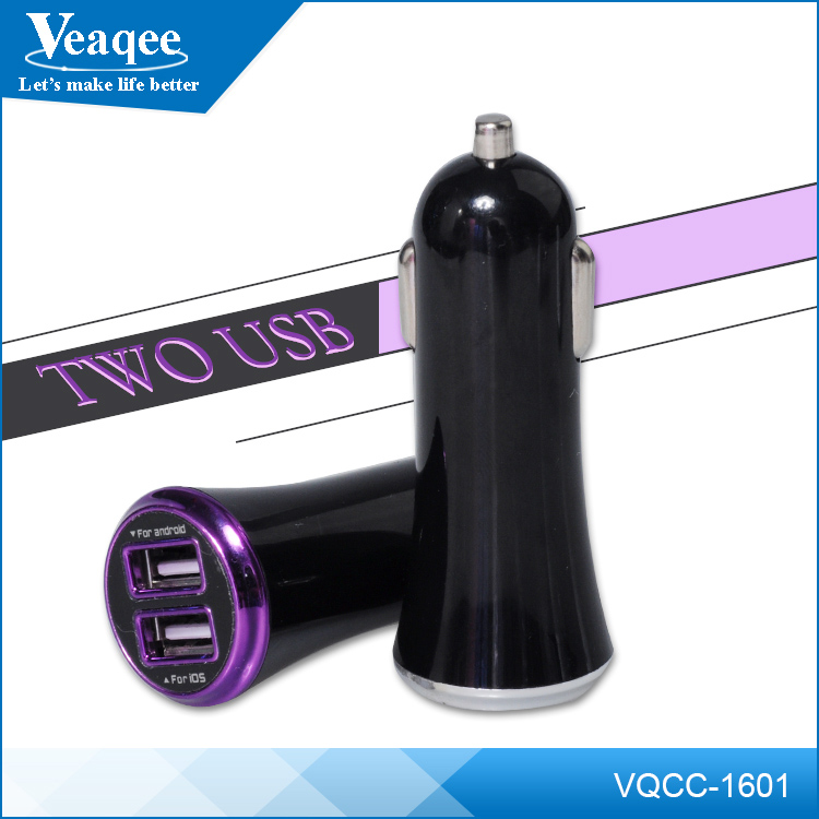 Veaqee Cheap 5V 2A Cell Phone Two Port USB Car Charger For All Mobile Phones