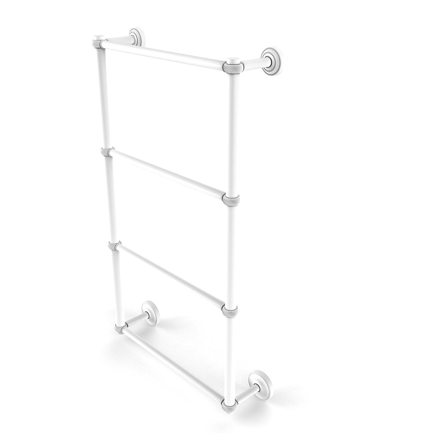 Allied Brass DT-28T-24-WHM Dottingham Collection 4 Tier 24 Inch Ladder Towel Bar with Twisted Detail 4