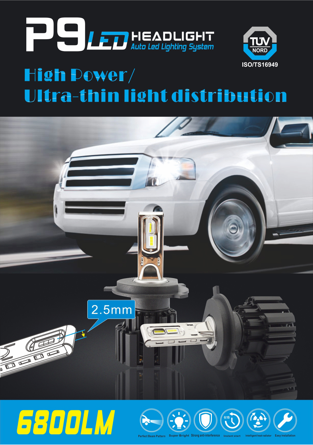 9005 9006 12v h4 led headlight 100W 13600lm led headlight h7 wholesales price led h7 bulb
