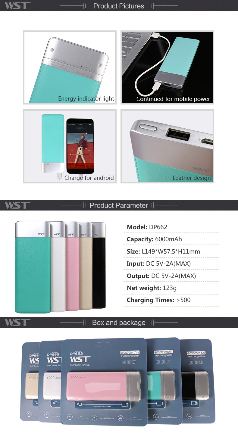 More than 500 recycle charging times portable battery bank customized powerbank 6000 mah