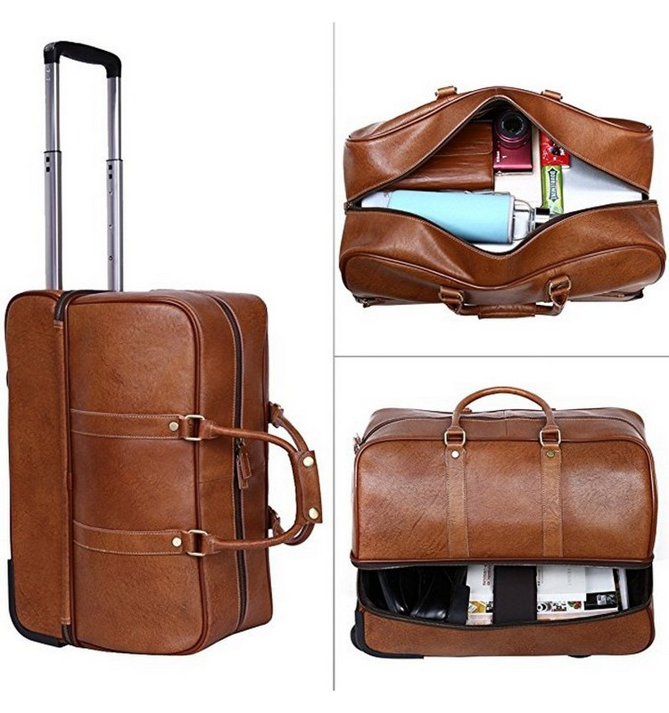 7a5ce5953 New model travel rolling bag high quality leather trolley bag luggage bag