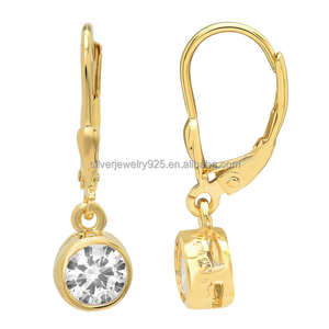 Essentials 18K Gold Round Cubic Zirconia Small Cuff Led Earrings