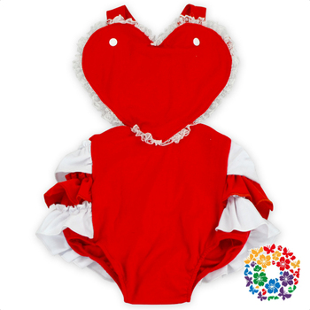 Baby Big Heart Romper Toddler Infant Baby Girls Cotton Rompers Plain Red Baby Valentines Rompers