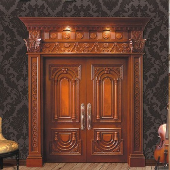 GSP1-010 Large Teak Double Entry Solid Wood Front Door Manufacturers