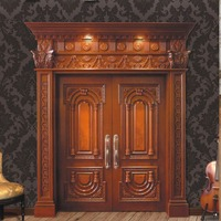 GSP1-040 China Factory Teak Double Exterior Solid Wood Carving Main Door Models
