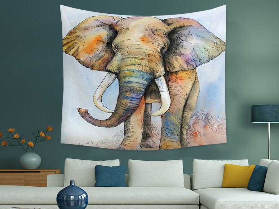 Colorful Animal Elephant Printed Cartoon Style Tapestry Wall Hangings For Home Decorative