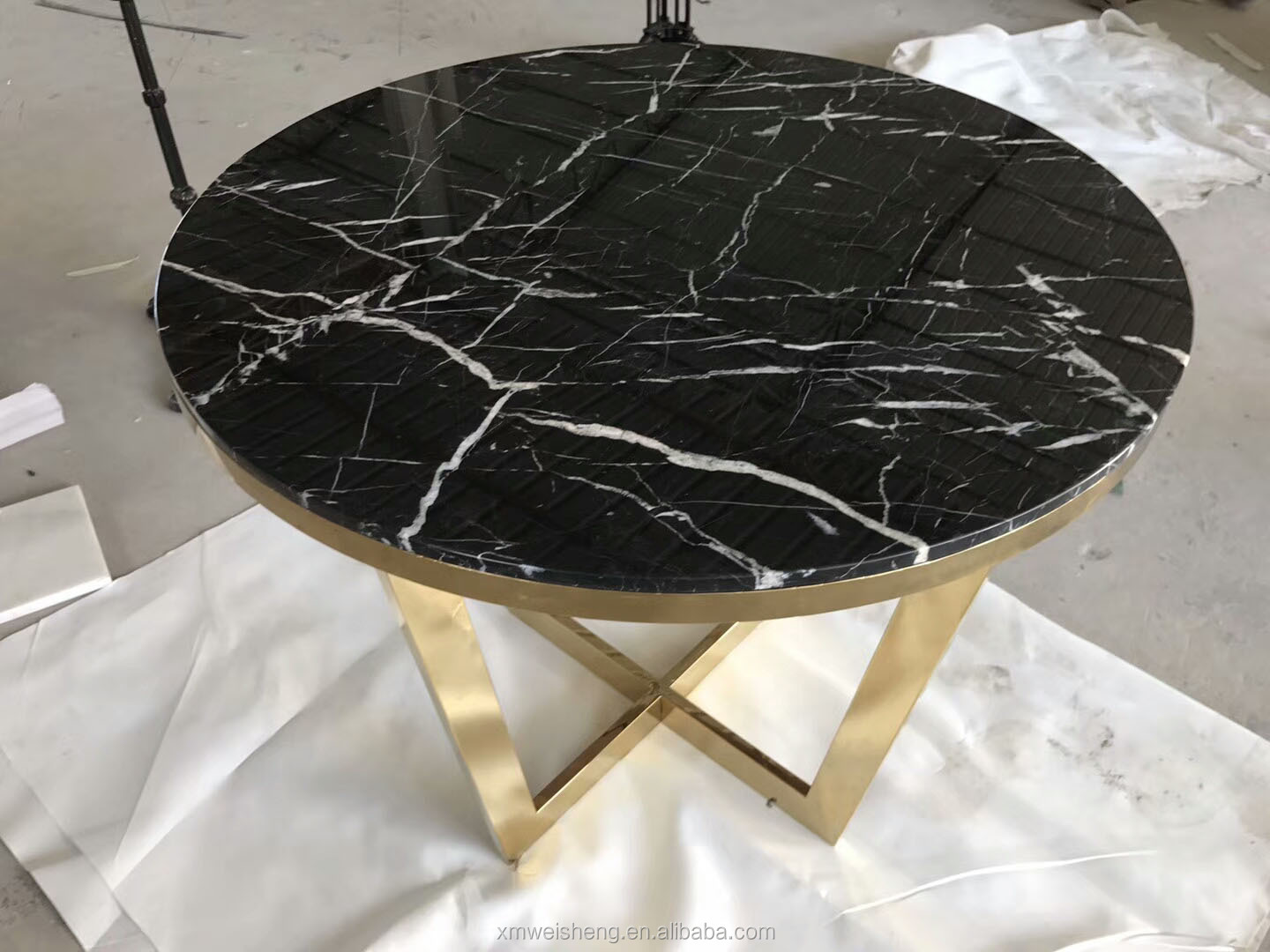 Colorful quality marble round square gold stainless steel dining console table HOT