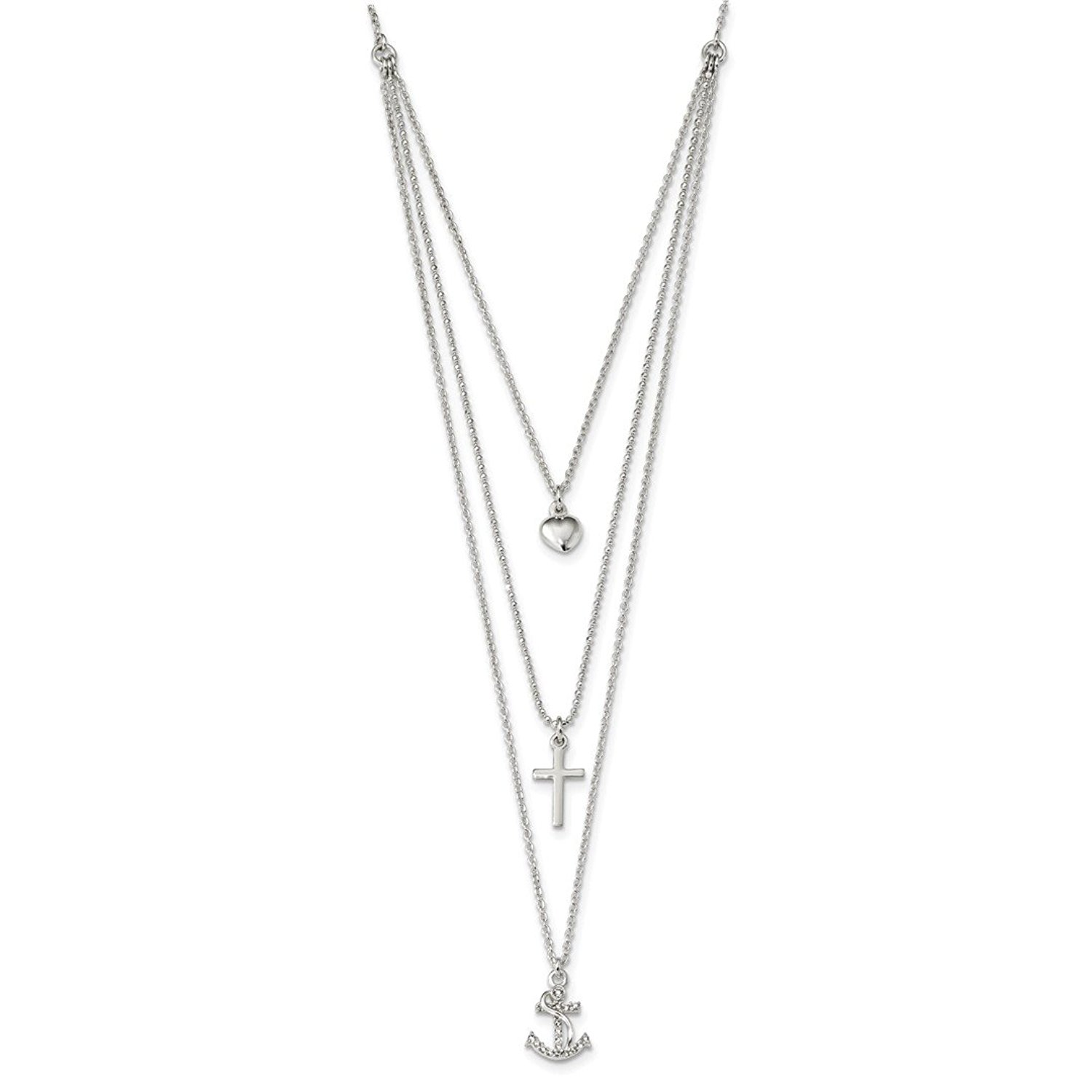 925 Sterling Silver Cubic Zirconia Cz Love You Forever 18in Chain Necklace Pendant Charm S//love Inspirational Fine Jewelry Gifts For Women For Her