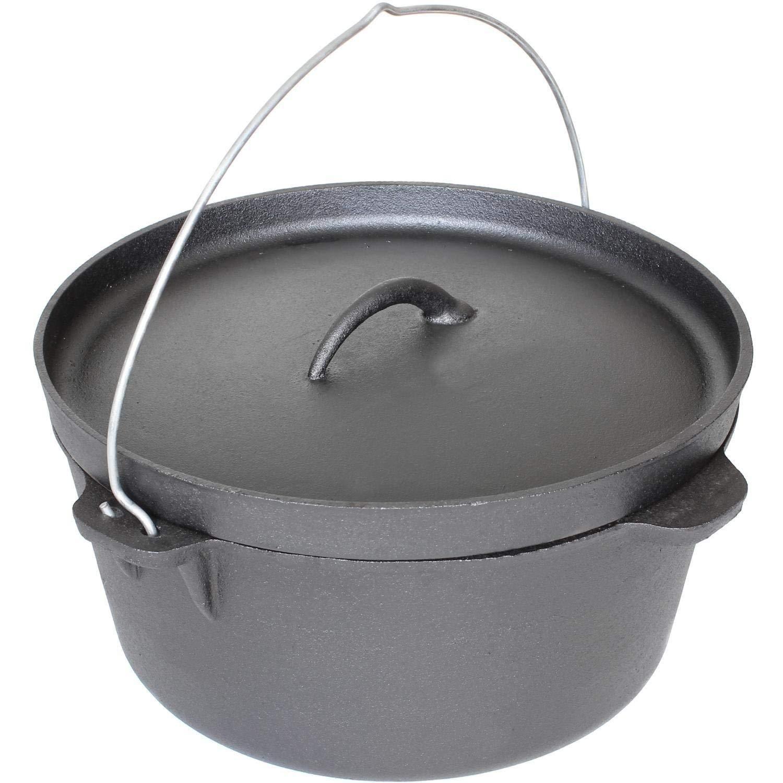 Cajun Cookware Pots Without Legs 16 Quart Seasoned Cast Iron Camp Pot