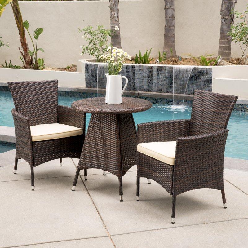Wonderful Weatherproof Brown Rattan Balcony Height 3 Piece Wrought Iron Bistro Dining  Set Outdoor Furniture