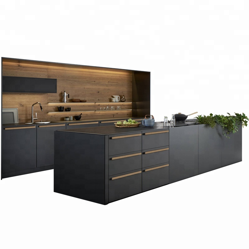 new model luxury solid wood kitchen <strong>cabinet</strong> in China foshan