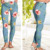 Yoga Leggings Women Fashion Wholesale Custom Tights Woman Leggings Dusty Blue Floral Leggings