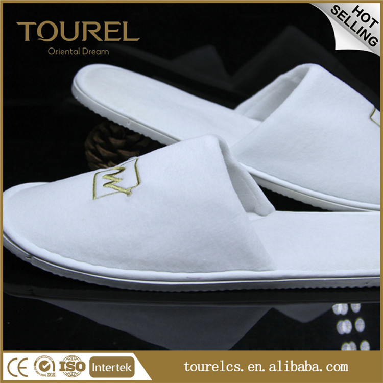 Personalized White Disposable Hotel Slippers,High Quality Hotel Spa Slipper