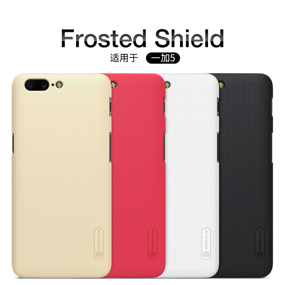 original NILLKIN Frosted PC Plastic back cover Phone Case For oneplus 5 case cover with Screen Protector