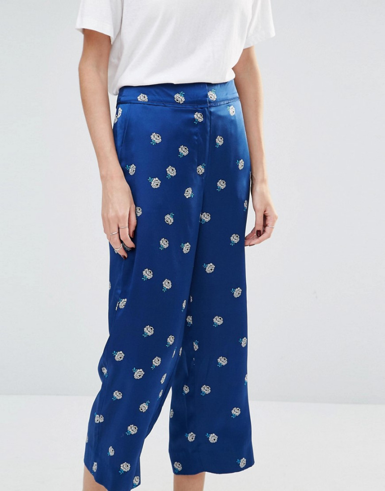 Silk Satin Pyjama Trousers in Floral Print ,Women's Silk Satin Sleep Pants