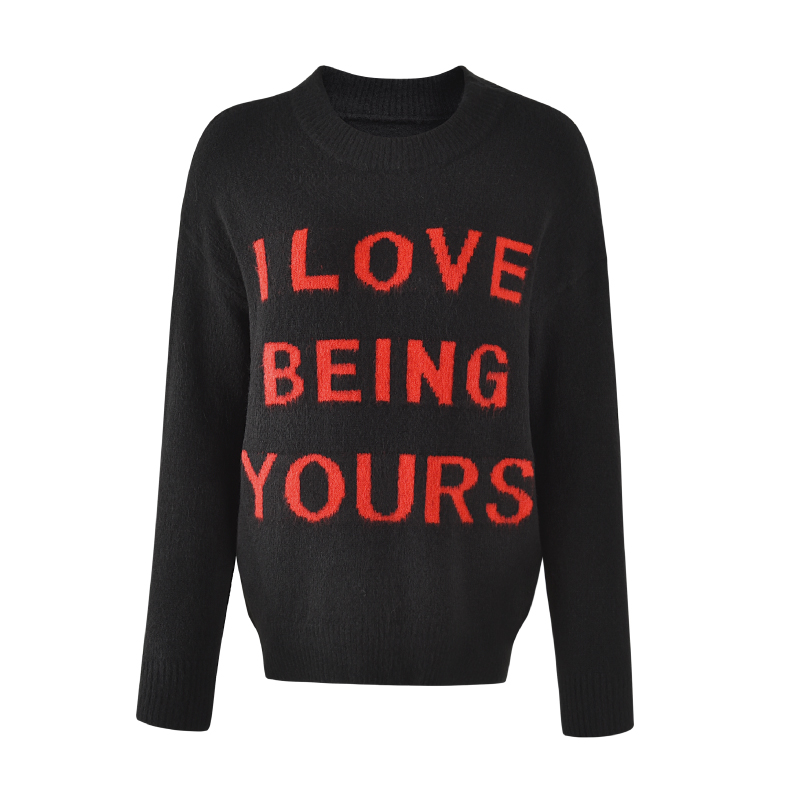 Casual letters jacquard women custom knit sweater