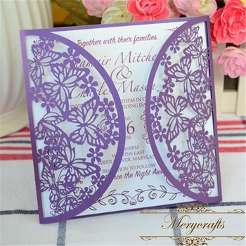 Laser Cut Paper Puberty Ceremony Invitation Card Purple Butterfly Wedding Invitations