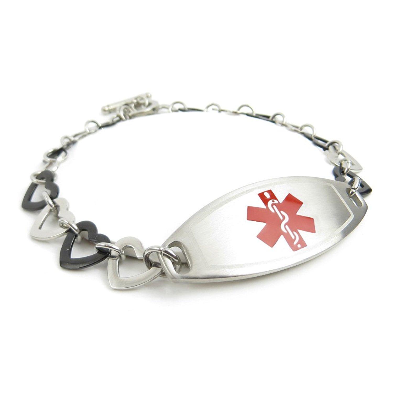 Black//White Millefiori Glass Pattern Pink My Identity Doctor Pre-Engraved /& Customized Emphysema Medical Alert Bracelet