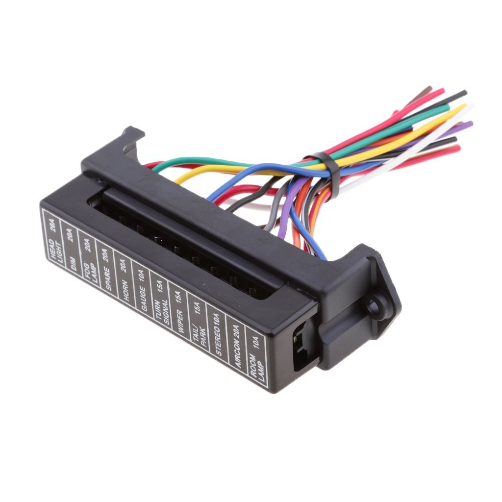 Get Quotations · Dolity Universal Car Boat 12Way Circuit Blade Fuse Box  Holder Block with Wire Harness