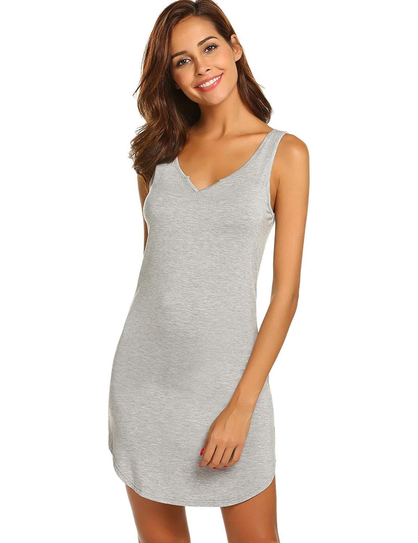 Skylin Sleeveless Nightgown Womens V Neck Sleepwear Shirt Dress Tank Pajama Dress S-XXL
