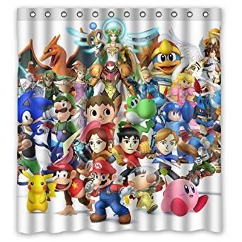 "Japanese Anime Collection Nintendo Pikachu Mario Fabric Classical Custom Shower Curtain bathroom Waterproof Eco-Friendly 66""x72"""