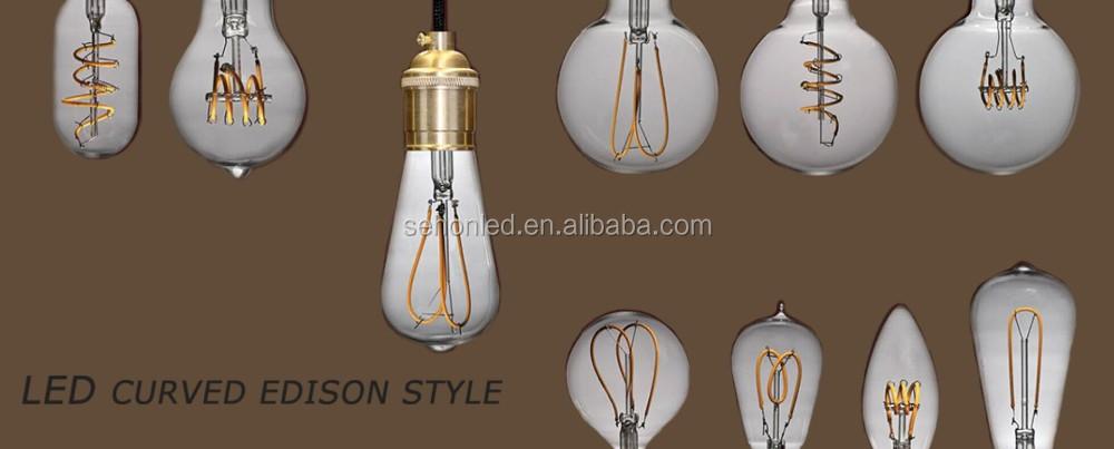 Vintage Led Edison Curved Filament C35 Candle G45 G125 Globe Light Bulb - Buy Edison Led Light ...