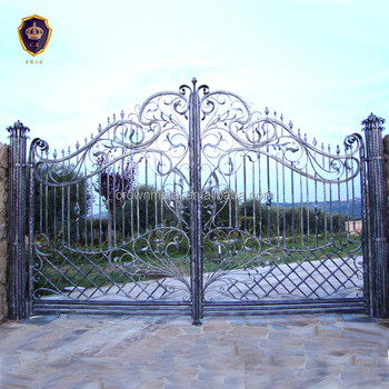 Villa Finished Surface All Hand Forged Wrought Iron Double Gate Luxury Decorative Gates Designs Product