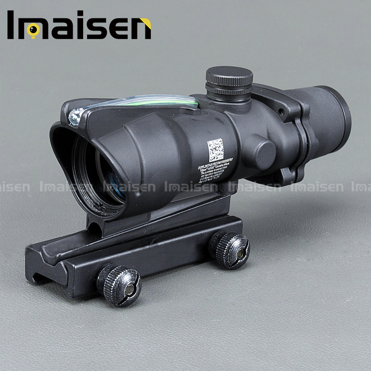 Hunting Riflescope ACOG 4X32 Real Fiber Optics Red Green Illuminated Chevron Glass Etched Reticle Tactical Optical Sight, Black