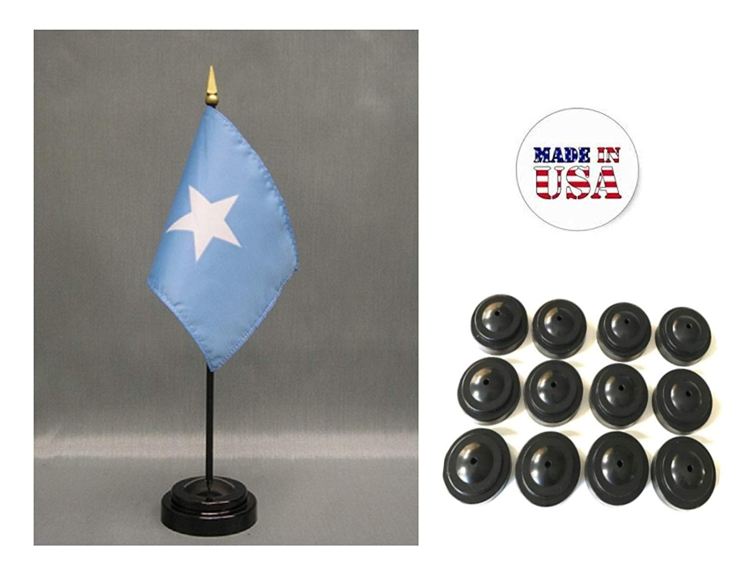 "Made in the USA!! Box of 12 Somalia 4""x6"" Miniature Desk & Table Flags Includes 12 Flag Stands & 12 Somalian Small Mini Stick Flags"