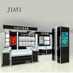High-end elegant wall wood cabinet designs and shop counter table design to display jewelry