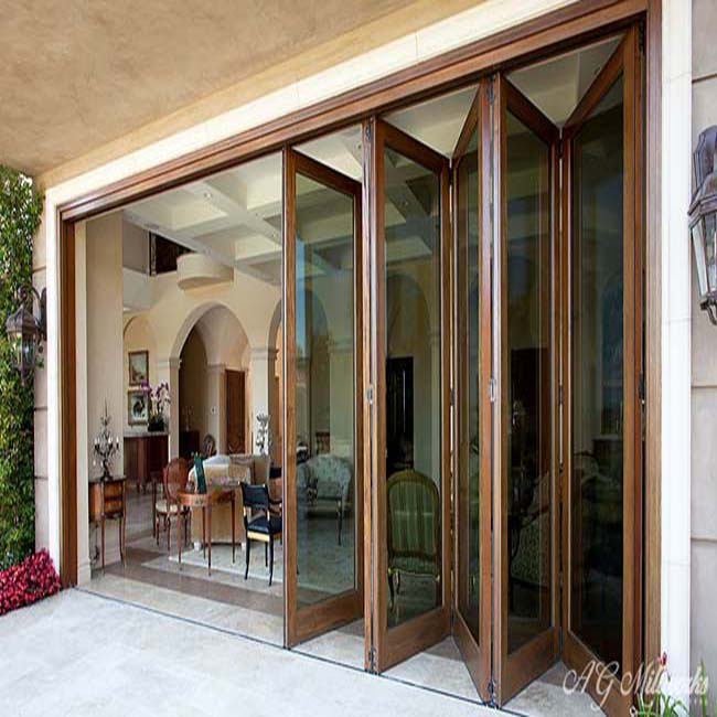 Quality-assured bottom price wood multi folding door with double glass
