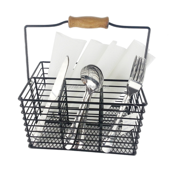 divided metal cutlery caddy organizer basket kitchen. Black Bedroom Furniture Sets. Home Design Ideas