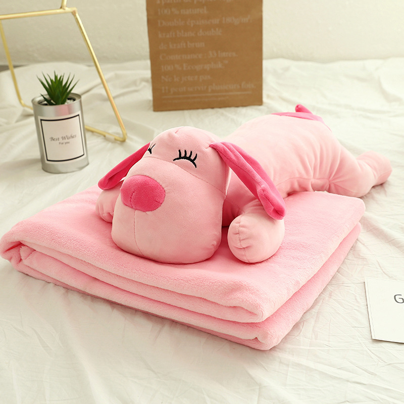 Direct Factory New Arrival Sleep Blanket Travel 2 in 1 Super Soft Flannel Blanket Pillow