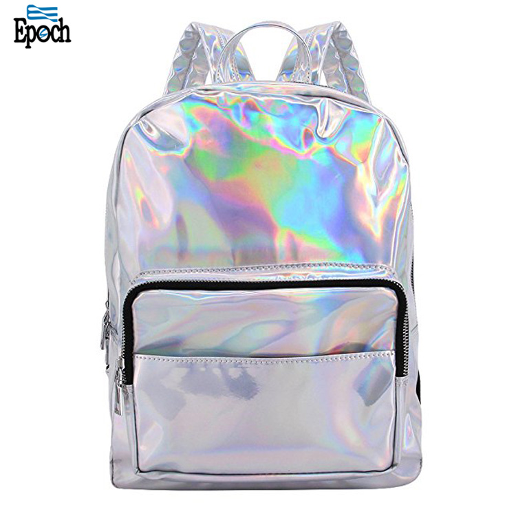 2018 trendy products heavy duty casual shiny holographic backpack for teens