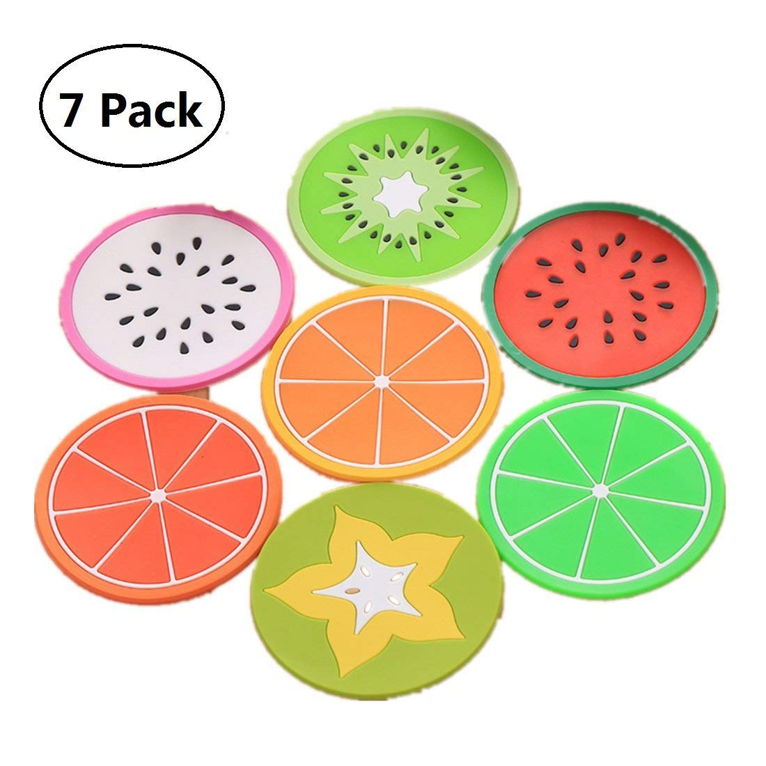 Tsuen Non Slip Fruit Coasters for Drinks, 7 Pieces Anti Slip Silicone Fruit Drinks Coffee Coasters Drink Cups Mat Drink Placement, Pack of 7