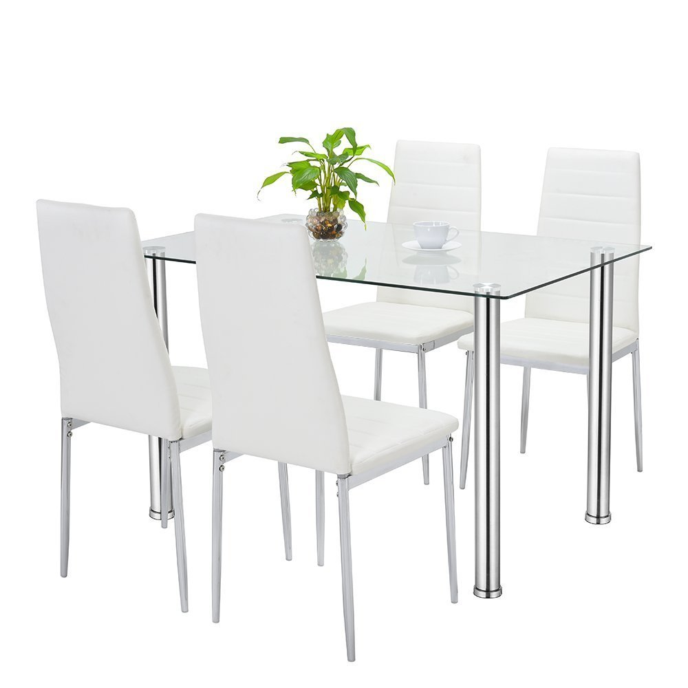 edb7160044dee Bonnlo 5 Pieces Dining Table Set Modern Home Kitchen Dining Table and Chair Set  with Glass