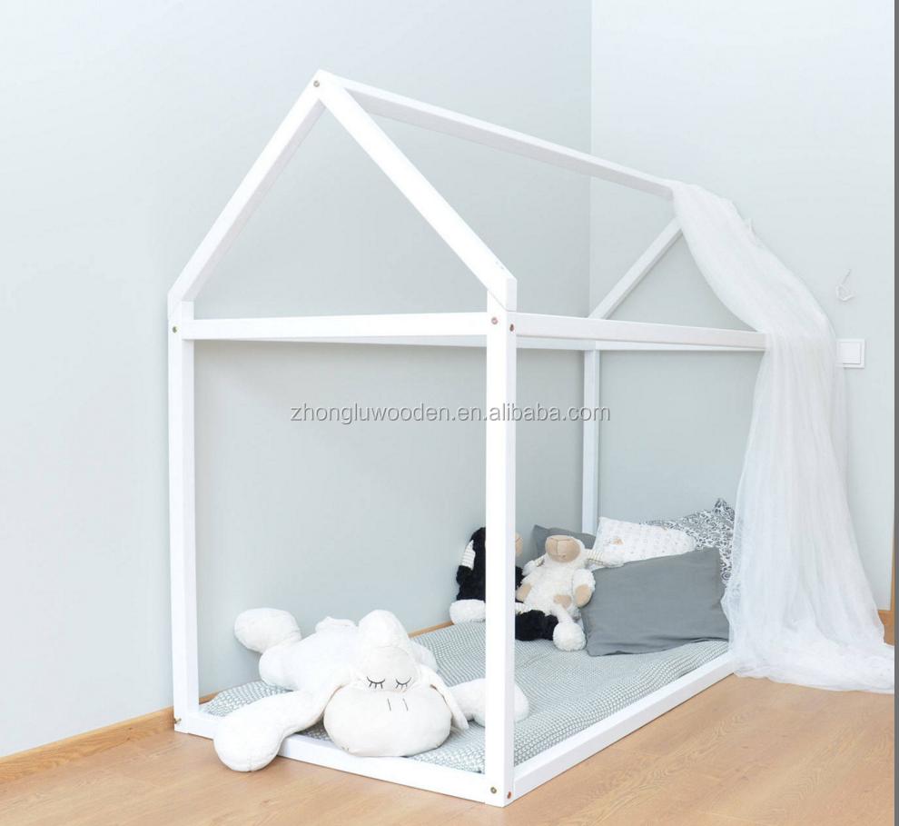 Kleinkind Bett 60x120 Cm Holz Haus Bettrahmen Montessori Kinderbett ...