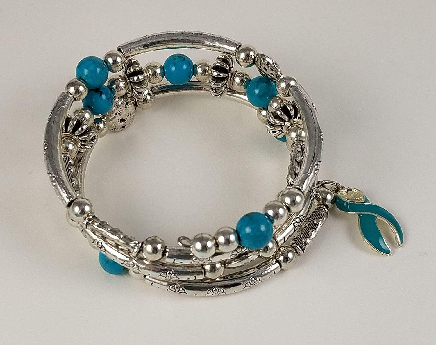 Turquoise Triple Spiral Coil Wrap Bracelet - With Pewter Designer Beads -Ovarian Cancer Awareness - Great for Everyday!