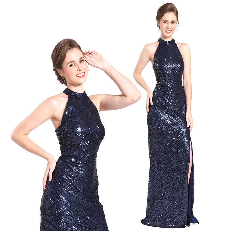 New arrival sleeveless sequin women party wear long evening dress