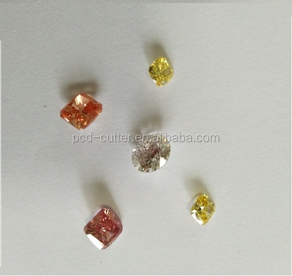 CVD golden yellow color polished diamond with IGI certificate-Cushion shape