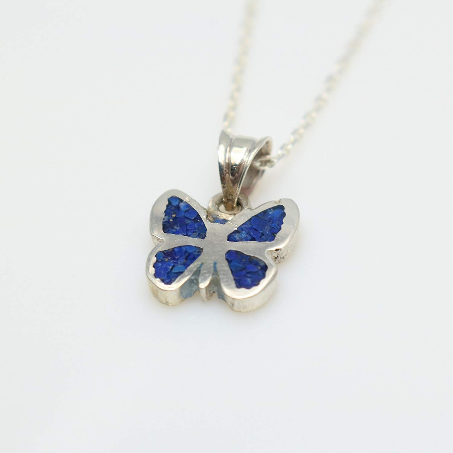 Butterfly Lapis Lazuli Gemstone Mosaic Sterling Silver Necklace 16.1'' to 17.7 inches, Adjustable Chain, Semi Precious Stone