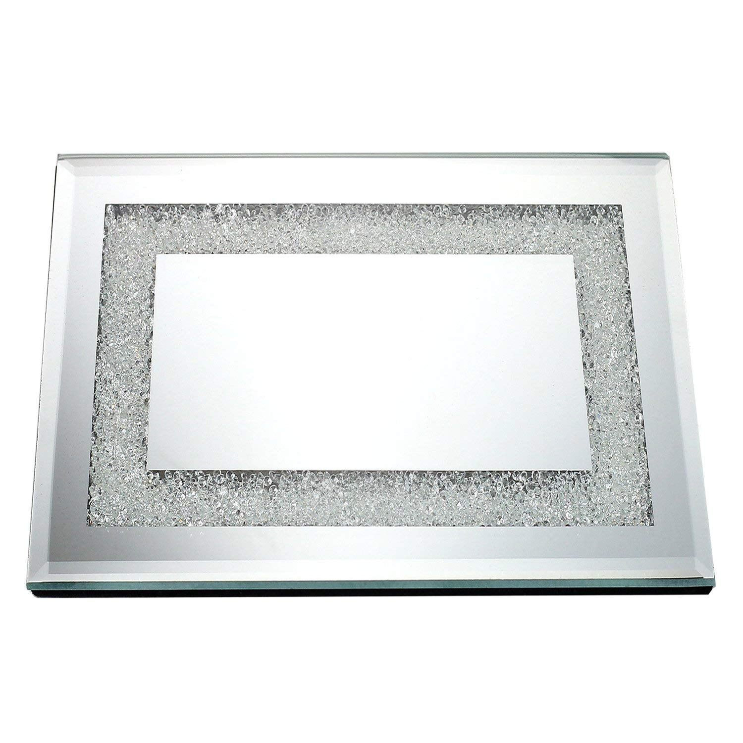"Glass Mirror Tray with Crushed Glass Border (12.5"" x 6.5"")"
